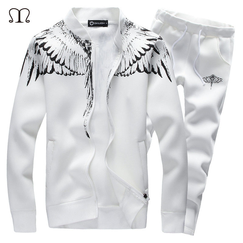 Herren Winter Casual Wing Print Sportanzug Set Hoodies Sweatshirt Hip - Herrenbekleidung - Foto 1