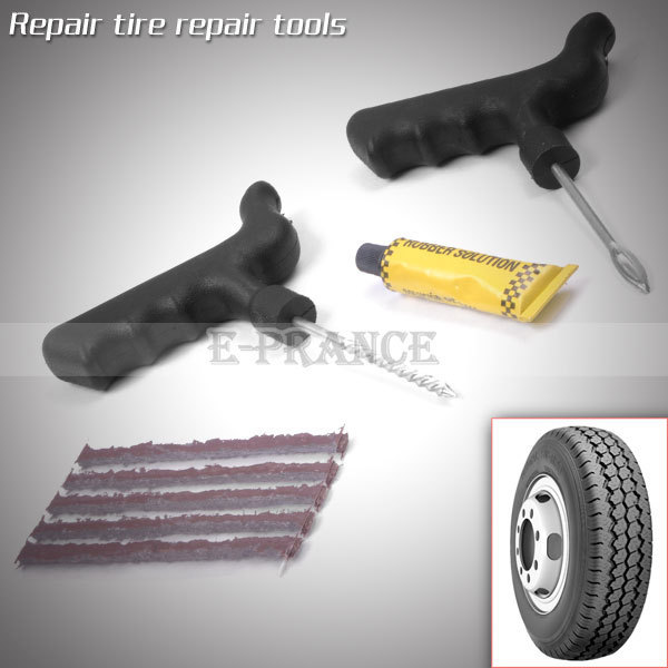 New 2014 Car Tire Repair Kit Puncture Plug Repair Tools 5 Strips Free Shipping CZ10C