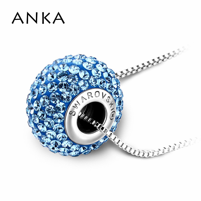 ANKA Fimo Round Crystal Pendant Necklaces Originales Trendy For Women Becharmed Pave Crystals from Swarovski Crystals