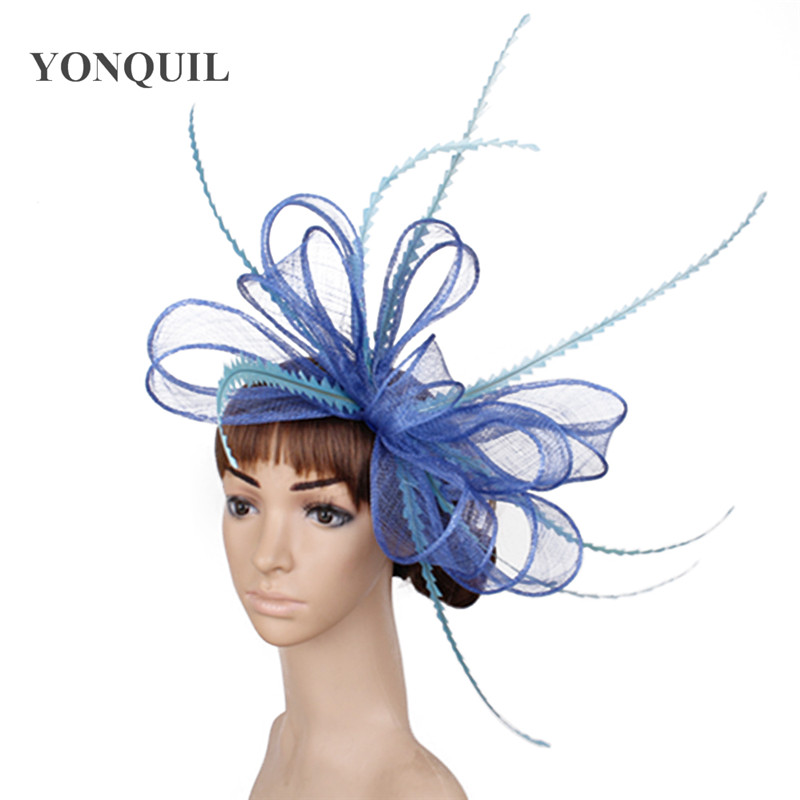 Элегантные головные уборы sinamay, Свадебные шляпы для невесты, высококачественные Коктейльные головные уборы, вечерние головные уборы, несколько цветов - Цвет: Светло-голубой