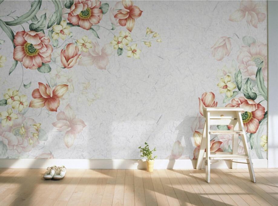 Retro Art Woonkamer : Custom retro behang nostalgie bloemen d art muurschilderingen