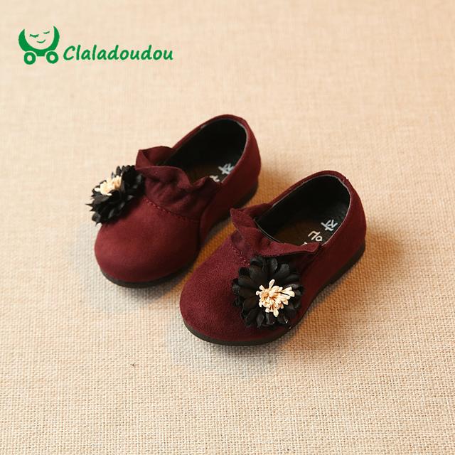 Claladoudou 11.8-13.8 cm bebê palmilha shoes flor de camurça bonito shoes para as meninas da criança primavera princesa menina infantil shoes sapatos de sola macia