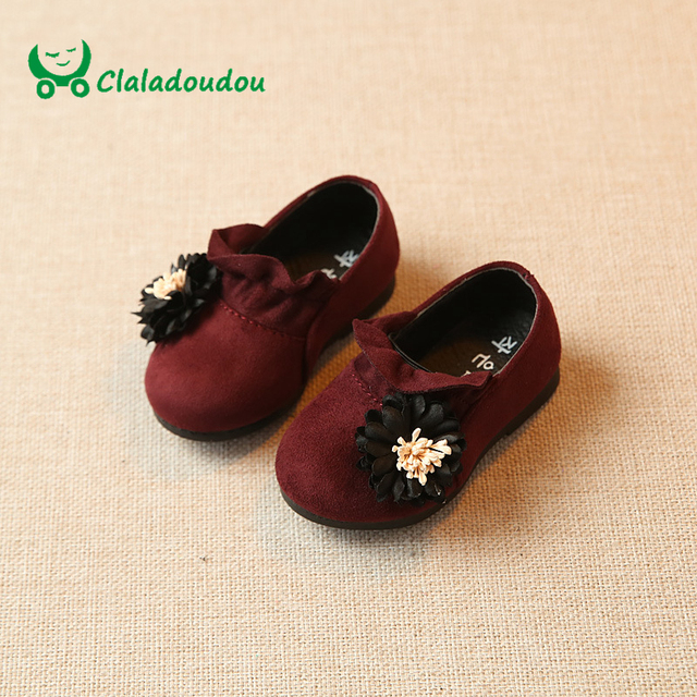 Claladoudou 11.8-13.8CM Insole Baby Shoes Flower Suede Cute Shoes For Toddler Girls Spring Princess Infant Girl Shoes Soft Sole