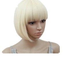 Парик блонд Fei-Show синтетические термостойкие короткие волнистые волосы, парик Pelucas косплей костюм косплей мультфильм ролевые короткие волосы боб