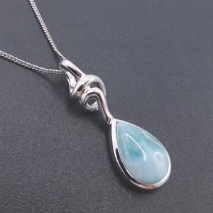 Image 4 - Pendentif Larimar en argent Sterling nouveauté, perles naturelles, 9x13mm, bijou fin pour femme, 925 goutte de larme, pour cadeau, breloque collier