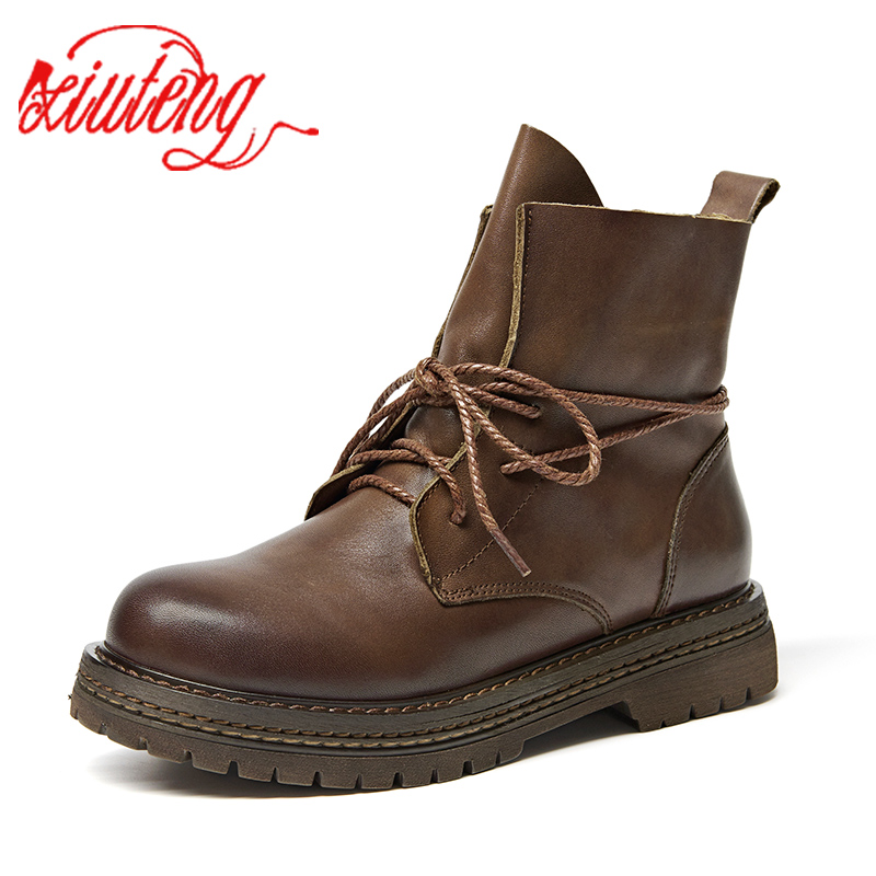 Xiuteng New Spring Fashion Boot Women Shoes For Lady Genuine Leather Boots Lace-Up Round Toe Ankle Boots Breathable Black Brown