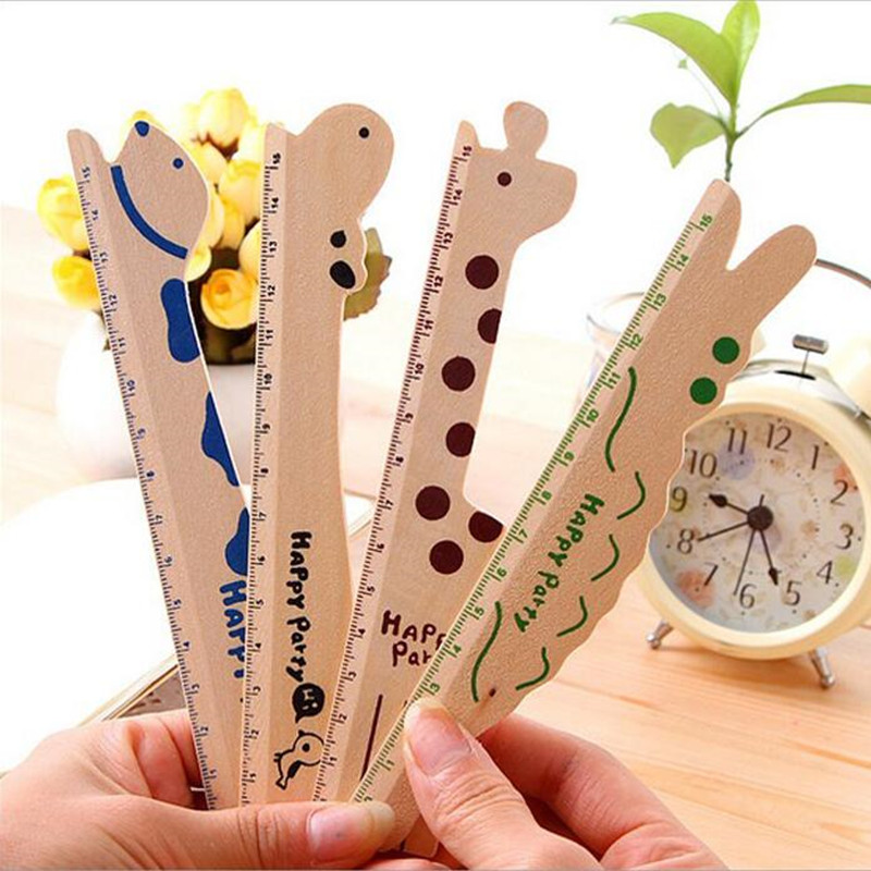 30 Pcs/lot Novelty Cartoon Animal Wooden Ruler 15CM School Stationery Kids Gift Party Favors