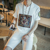 2018 Summer 2 Pcs Gold Dragon Embroidery Shirt And Short Stand Collar Frog Button Chinese Style