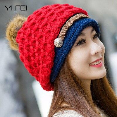 8641c98c225 New Fashion Woman s Warm Woolen Winter Hats Knitted Fur Cap For Woman  Snapback Cap Lady Female