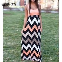 NIBESSER 2017 New O Neck Wave Striped Boho Dress Women Sexy Sleeveless Print Long Dress Feminine