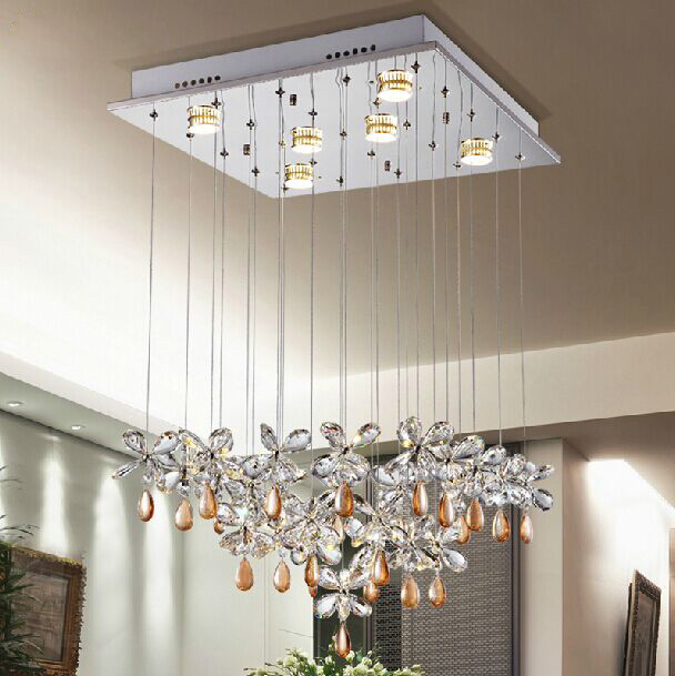 High Quality Square Chandeliers Light Modern Crystal Chandelier For Dining Room Luxury Living Lighting Fixture