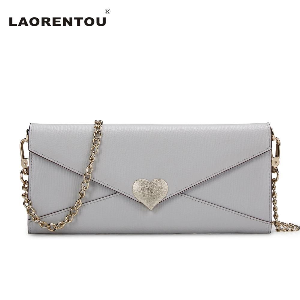 ФОТО LAORENTOU Fashion Love Hasp Cowhide Leather Ladies Hand Bags Chains Decoration Designer Handbags High Quality Shoulder Bag N56