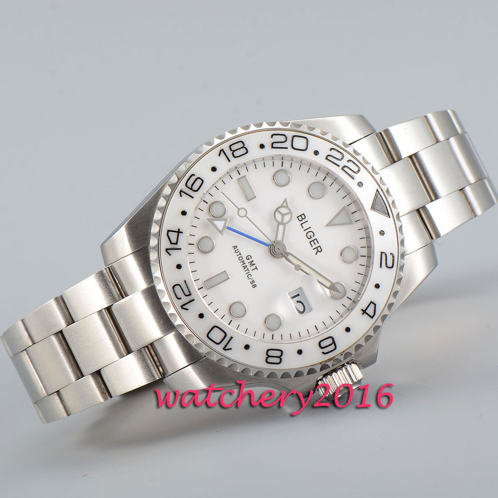 Simple 43mm Bliger sapphire glass white dial date grey bezel GMT Automatic movement Mens Watch