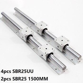 2pcs SBR25 25mm -L 1500mm support rail linear guide + 4pcs SBR25UU linear bearing blocks CNC parts linear rail
