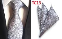 Lingyao New Arrival 8cm Formal Ties SET Gray Classic Paisley Necktie with Handkerchief