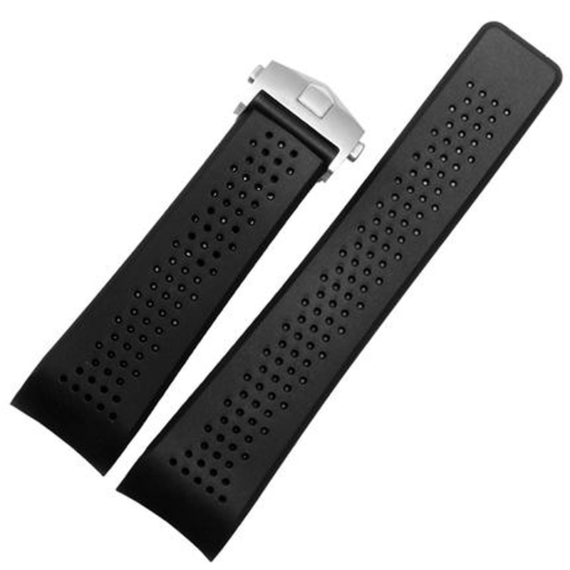 LUKENI 22mm 24mm Black Silicone Rubber Watch Strap Belt Bracelet Watchband For TAG Watch Heuer With Original Logo With Clasp silicone rubber watchband double side wearing strap for armani ar watch band wrist bracelet black blue red 21mm 22mm 23mm 24mm