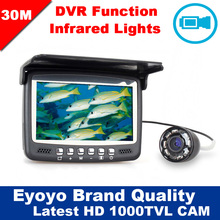 Eyoyo D'origine 30 M 4.3 «sous-marine 1000TVL Glace De Pêche Caméra Vidéo Fish Finder Vidéo Enregistrement DVR 8 Infrarouge IR LED Pare-Soleil