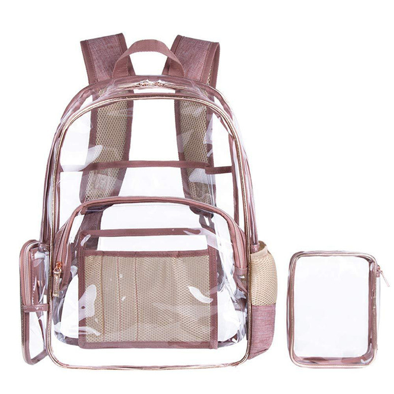 2 PCS PVC Transparent Purse Backpack Clear Designer Backpacks Women High Quality School Bag for Teenage