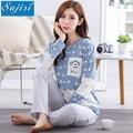 Autumn Cotton Patchwork 2 Piece Maternity pajamas for Pregnant Women Long-sleeved breastfeeding pajamas Pregnancy Clothes pyjama