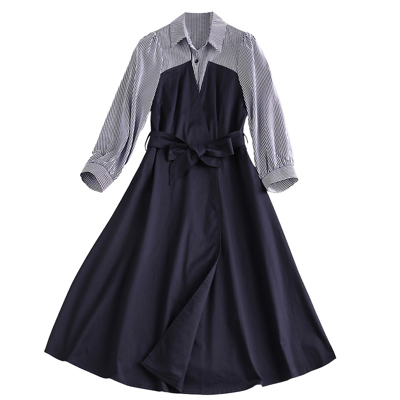 Manches Printemps Mode Nouvelle Col Rayé Longueur 3 Femmes 4 Patchwork Au Pour Genou 2019 Robe Rabattu Bleu Les nxYxqO48