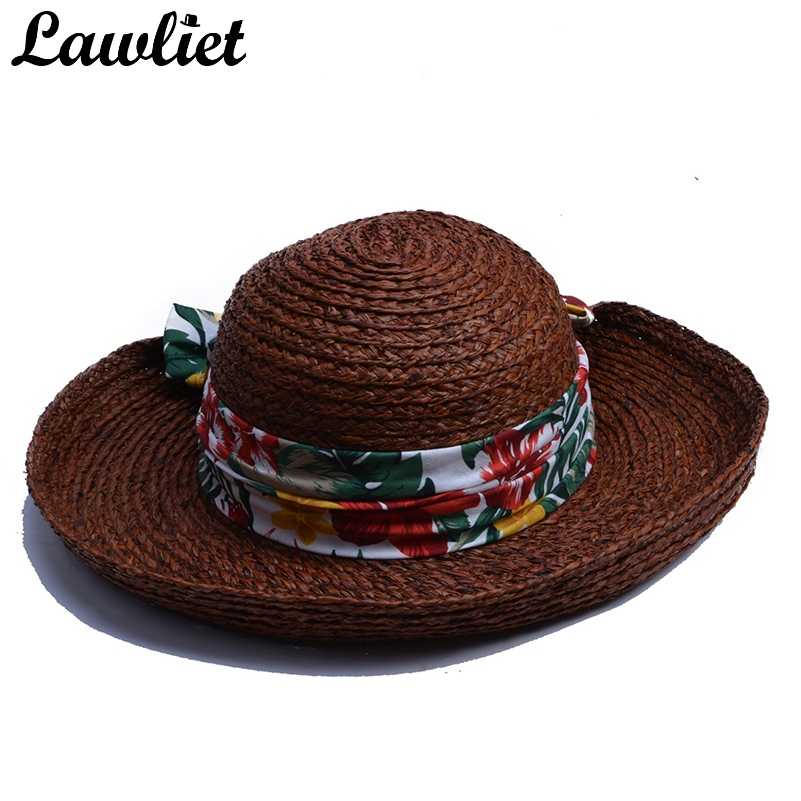 Cappelli donne Sole Tropicale Hawaii Stile Nastro Wide Brim Rafia Cappelli  di paglia Laminati Ripresa Brim Sun Protect Protezione Della Spiaggia  Sembrero ... 803f78c8d738
