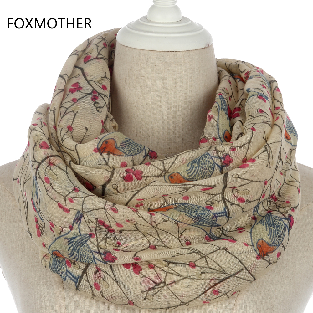 FOXMOTHER New Lightweight Soft Fashionable Beige Grey Blue Bird Tree Infinity Scarves Snood For Womens
