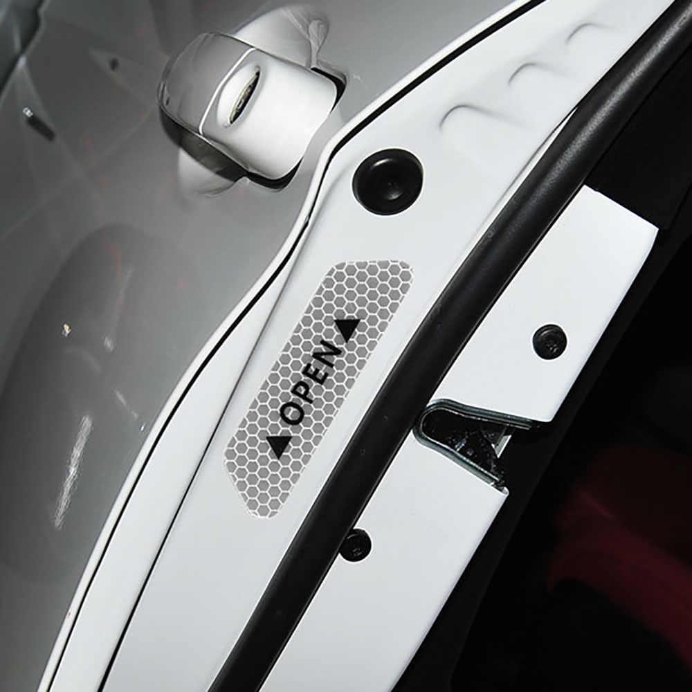 HOYOO 4 قطعة/المجموعة باب السيارة ملصقات العالمي سلامة تحذير الأقسام المفتوحة عالية تعكس الشريط دراجة نارية خوذة ملصق
