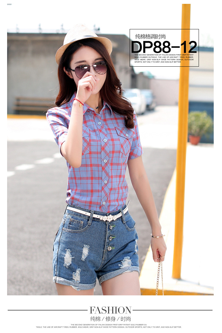 HTB1gfTQHFXXXXbzXXXXq6xXFXXXY - New 2017 Summer Style Plaid Print Short Sleeve Shirts Women