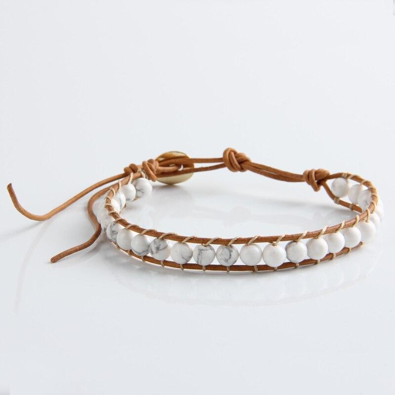 Leather Bracelet Natural Stone Bead Bracelets