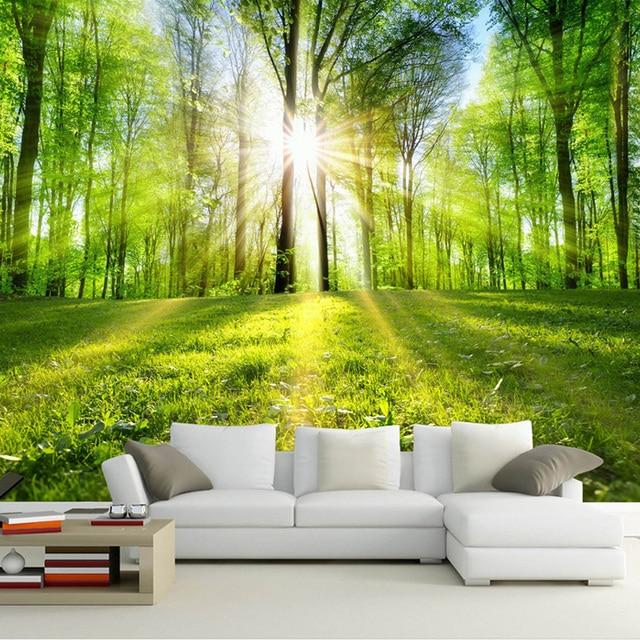 fototapete 3d wald sonnenschein natur landschaft wandbild wohnzimmer schlafzimmer tv sofa. Black Bedroom Furniture Sets. Home Design Ideas