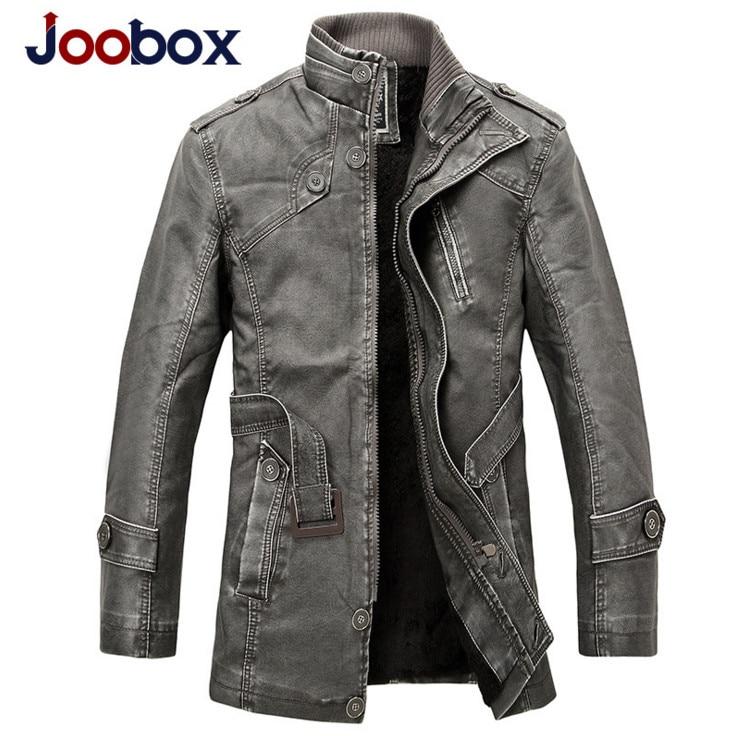 Mens Winter Windproof Leather Jacket Fashion Business PU Leather Jacket