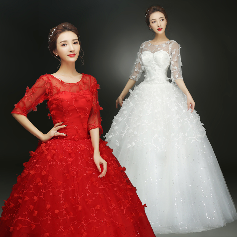 2017 new stock plus size women pregnant bridal gown wedding dress ball gown half sleeve sexy flowers red white long romantic 25