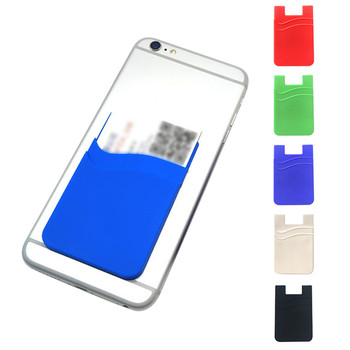 Double-deck Adhesive Silicone Credit Card Pocket Sticker Pouch Holder Phone Case Mobile Phone Wallet Credit ID Card Holder Stick artificial nails