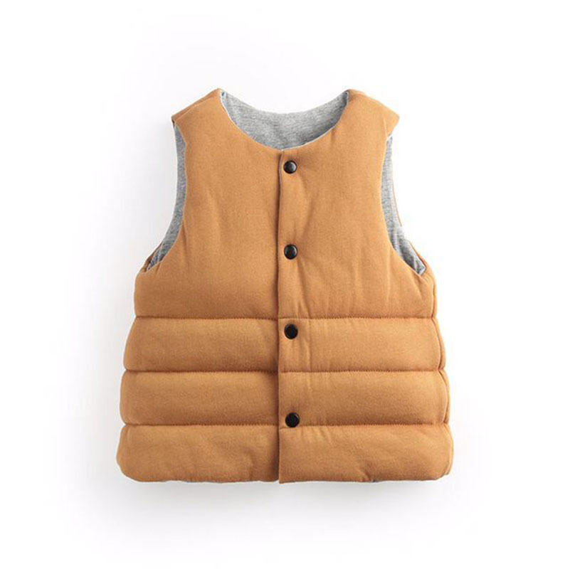 Winter Cute Children Pure Cotton Down Vest Fashion Baby Boy Girl Thickening Double Wear Cotton Vest Keep Warm Kids Waistcoat