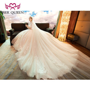 Image 2 - Винтажное кружевное свадебное платье с высоким вырезом и коротким рукавом, с вышивкой, 2020, с открытой спиной, с вырезами, бальное платье для невесты WX0160