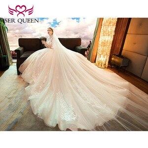 Image 2 - 高ネックヴィンテージハーフスリーブファンシーレース刺繍のウェディングドレス 2020 背中中空ボールガウン花嫁ドレス WX0160