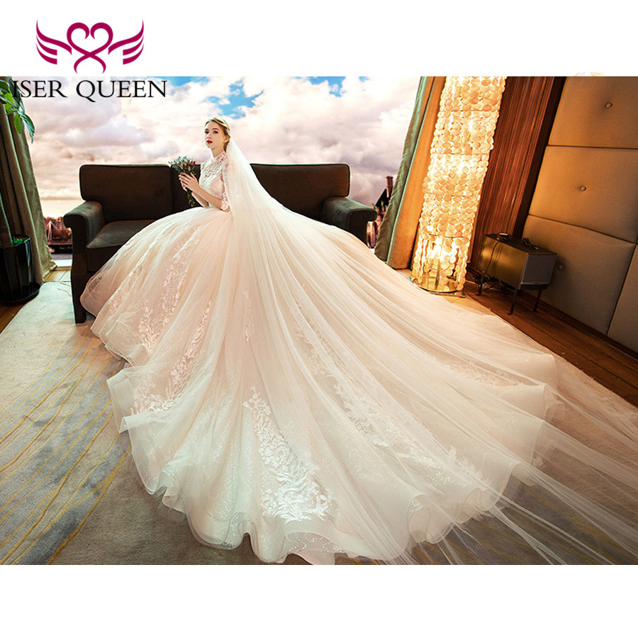 Image 2 - High Neckline Illusion Vintage Half Sleeves Fancy Embroidery Wedding Gown Sequined Backless Hollow Ball Gown Train Tulle WX0160-in Wedding Dresses from Weddings & Events