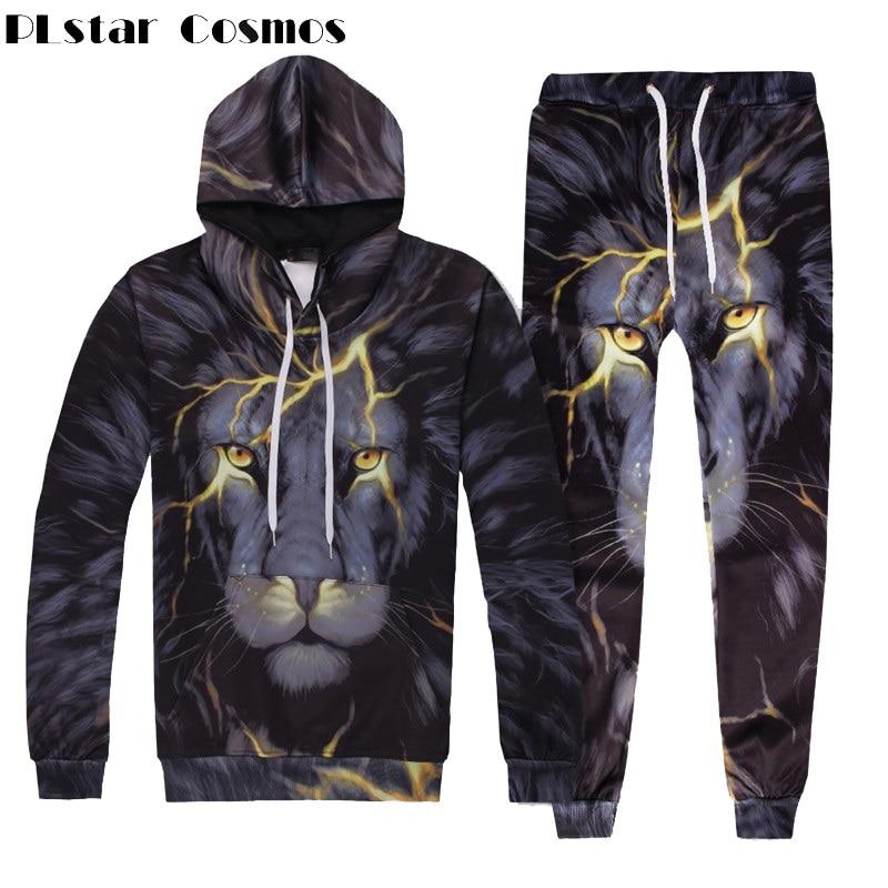 PLstar Cosmos Men/Women Two Piece Set Top And Pants Autumn Tracksuit 3d Lightning Lion Print Loose Hoodie And Pants Unisex