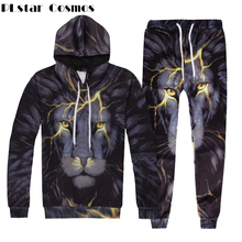 PLstar Cosmos Men/Women Two Piece Set Top And Pants Autumn Tracksuit 3d lightning Lion Print Loose Hoodie Unisex