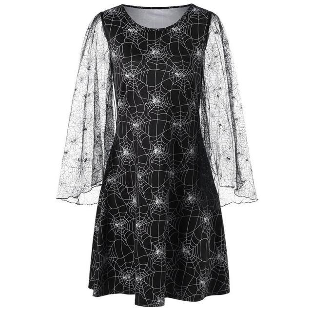 0cad304a0a 2018 New Women Stylish Dress Loose Halloween Party Cobweb Print Yarn Long  Sleeves O Neck Mini Dresses Festive Dress