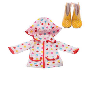 18 inch Girls doll clothes Waterproof raincoat coat print dress with shoes American born hat Baby toys fit 43 cm baby dolls c271 baby born doll clothes toys white polka dots dress fit 18 inches baby born 43 cm doll accessories gc18 36