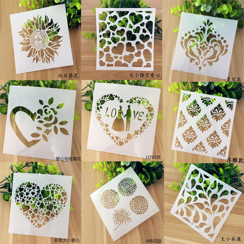 Stencil Bullet Journal Openwork Drawing Template Cake Spray Printed Pattern Decorative Lace Stencil Graffiti Template Reusable