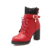 Ekoak Novo 2016 Moda Outono Inverno Mulheres Botas De Couro de Pelúcia ankle Boots Fivela Casuais Rendas Até Zip Saltos Altos Martin botas