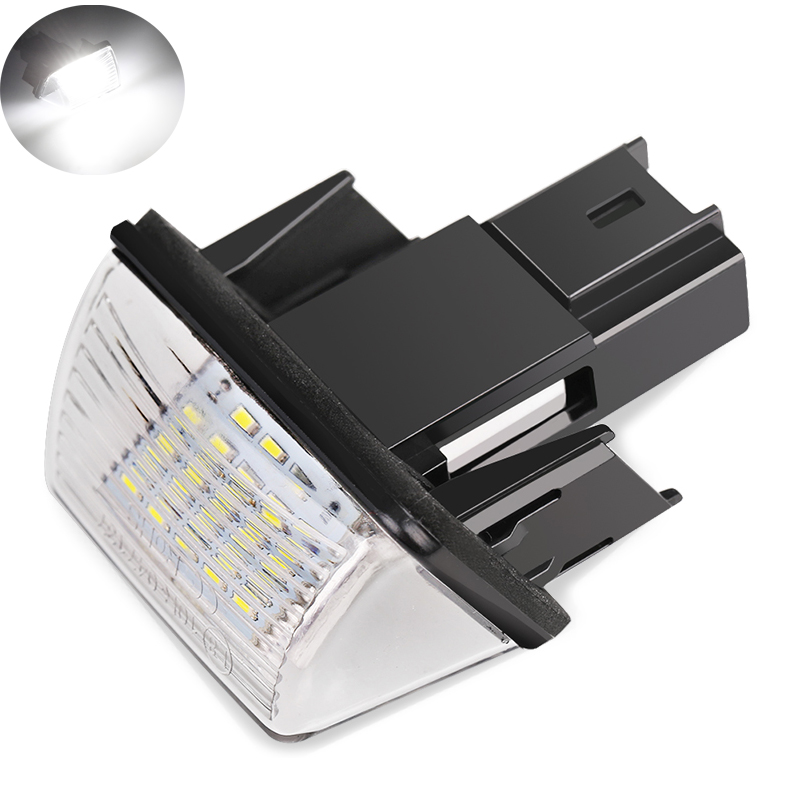 2Pcs LED Number License Plate Lights 18SMD No Error Free Light Bulb For PEUGEOT 206 207 306 307 406 407 For CITROEN C3 C4 C5