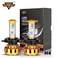 Auxbeam 6500 K Cree Led SMD Virutas 80 W/pair Alta (Far) y luz de Cruce H4 Del Coche Kits de Faros LED con Una Función de Ventilador De Refrigeración y Canbus