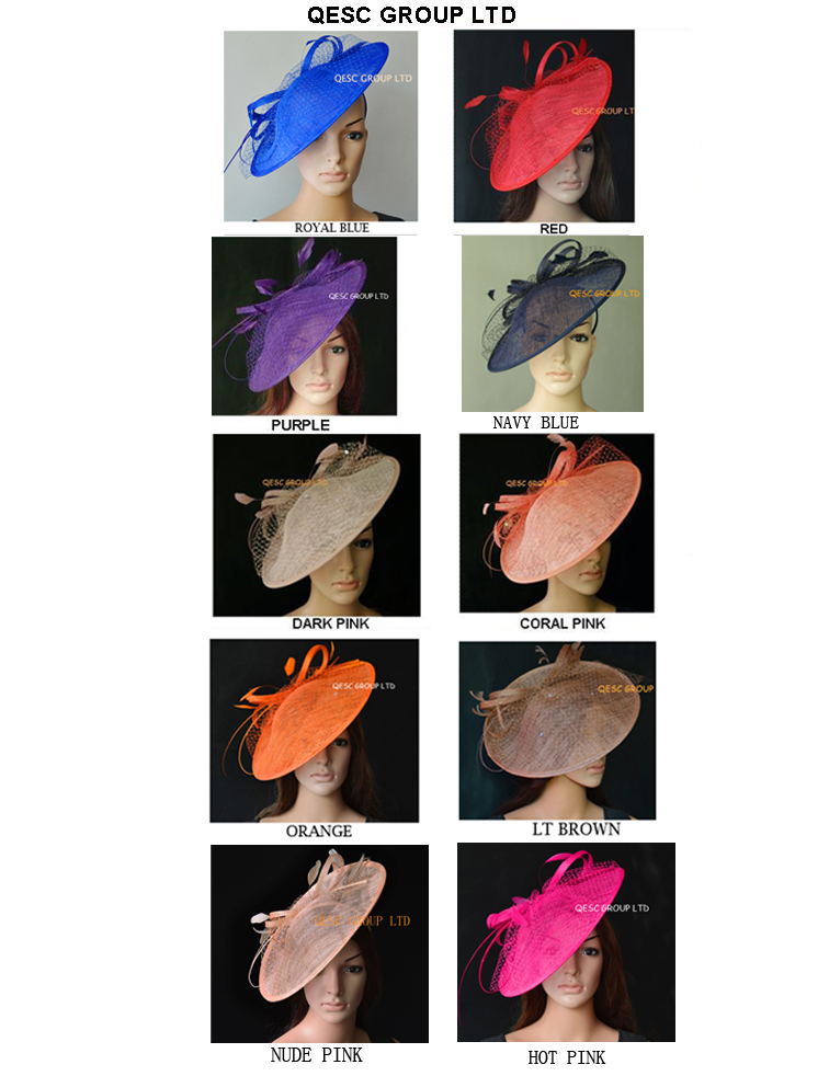 Wholesale NEW multiple color Big Sinamay women s hat fascinator hats kentucky derby wedding party FREE