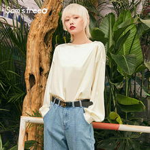 Spring New Woman Blouses Soild Lace Cuffs O-Neck Women Tops And Stylish Casual Ladies Femme