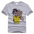 Homens brancos Cinza T-shirt Personagem de Desenho Animado Impresso 3D Personalidade Dos Homens cobre T Gorillaz Hip Hop T-shirt do Estilo de Rock Para Homens masculino