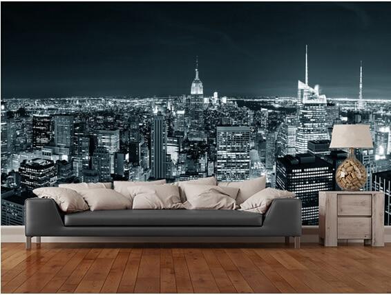 Us 15 25 49 Off Custom Black And White Retro Wallpaper New York Manhattan Skyline 3d Wallpaper For Living Room Bedroom Kitchen Backdrop Pvc In