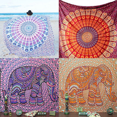Indian Round Mandala Beach Throw Hippie Tapestry Yoga Mat Towel Bohemian Roundie